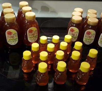 Honey in plastic bottles