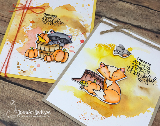 Fall cards by Jennifer Jackson | STAMPtember exclusive: Bushels of Love Stamp set by Newton's Nook Designs #newtonsnook
