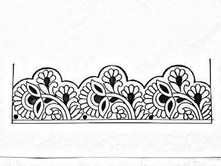 Flower border design pencil sketch on tracing paper