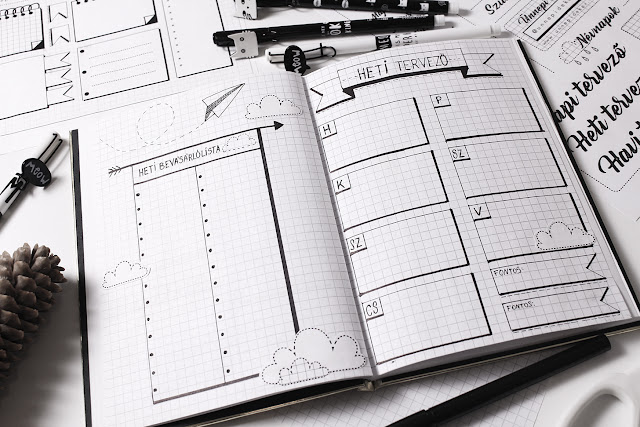 Bullet Journal Október - heti tervező