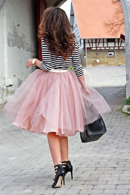 falda circular larga rosa