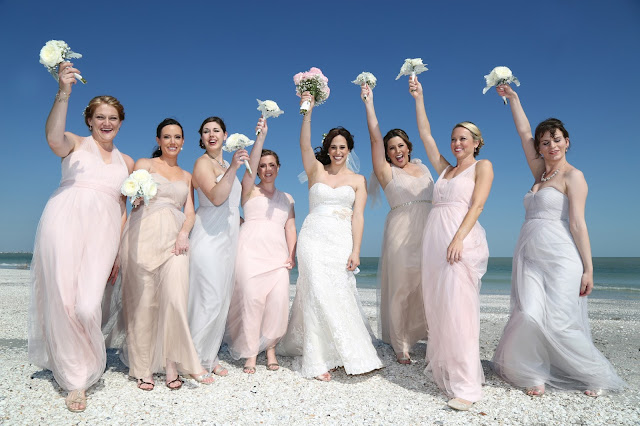 sanibel island wedding pink bridesmaids