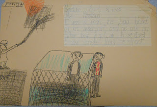 A child's illustration and writing recounting an incident with a man in a bloody shirt asking for directions.