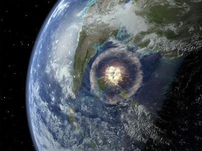 imagen ilustrativa del choque de un asteroide en la península de chucatán