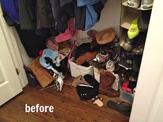 mudroom closet floor area before