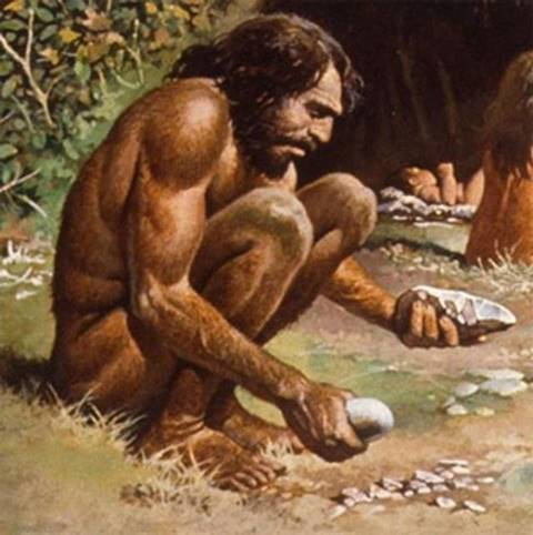 Caveman-working-with-stone-tools