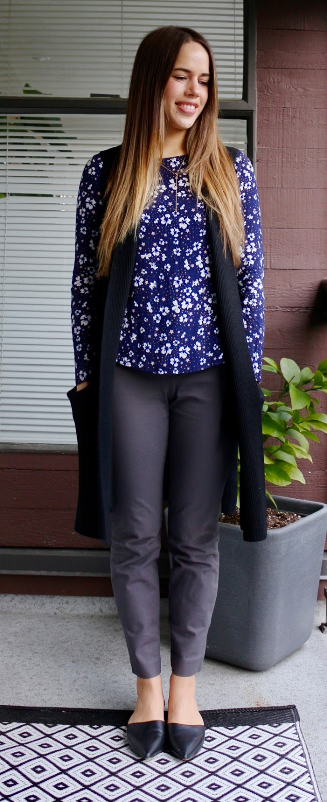 Jules in Flats - Floral Blouse with Sweater Vest and Ankle Pants for Work