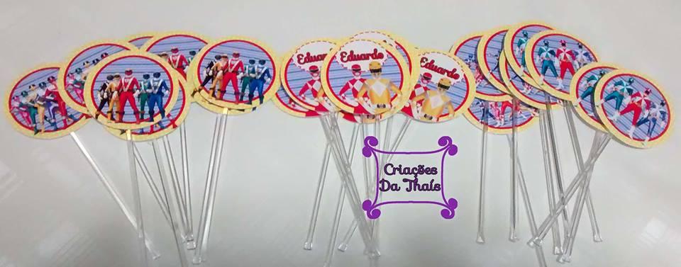 da6f434251f Criações da Thaís  Topper para docinho e cupcake Power Rangers