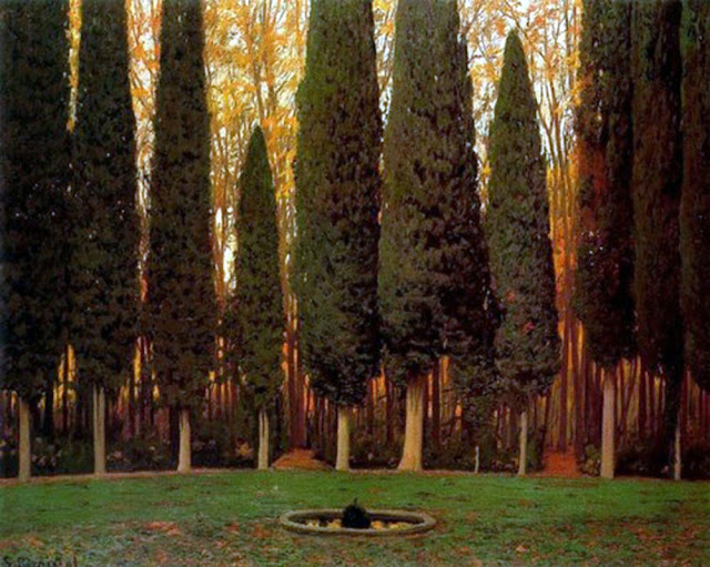 Cipreses de Aranjuez, Santiago Rusiñol y Prats, Pintor español, Jardines y Parques, Paisajes de Santiago Rusiñol, Pintores Catalanes, Pintura española, Jardines de Aranjuez, Jardines de españa