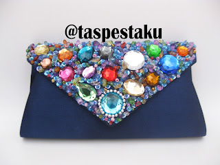 Handmade Tas Pesta Mewah Navy Cantik Clutch Bag Biru Donker