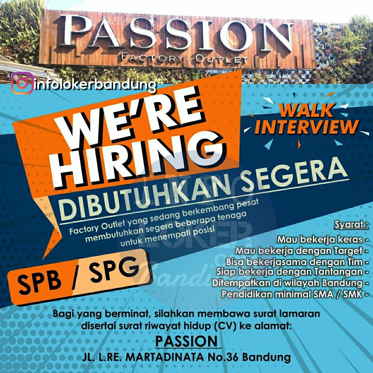 Lowongan Kerja Passion Factory Outlet Bandung ( Walk In Interview )