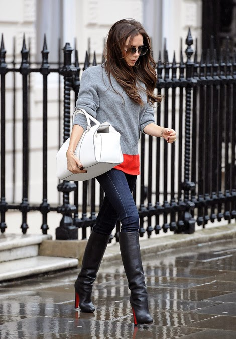 f5ae61abf13 Thigh High Boots Seduction Luxe. Victoria Beckham in Christian Louboutin Knee  High Boots