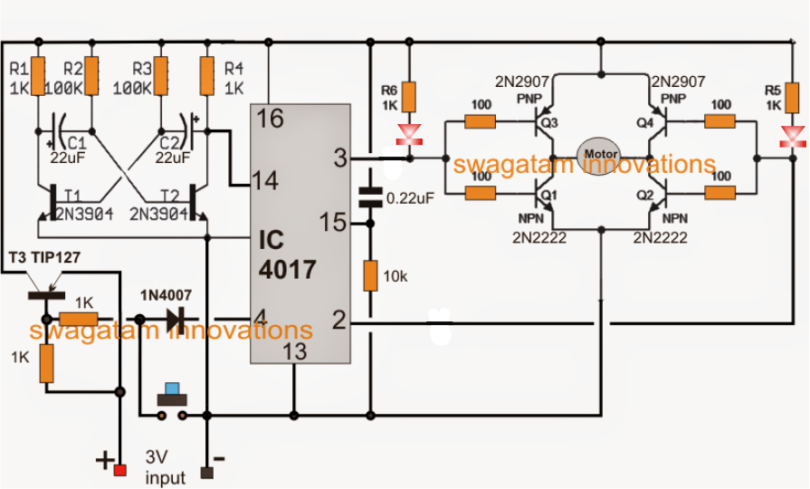 make this simple motor toy circuit reverse forward timer referring to the above diagram the t1 t2 stage along the associated components form an astable multivibtator an oscillator frequency period