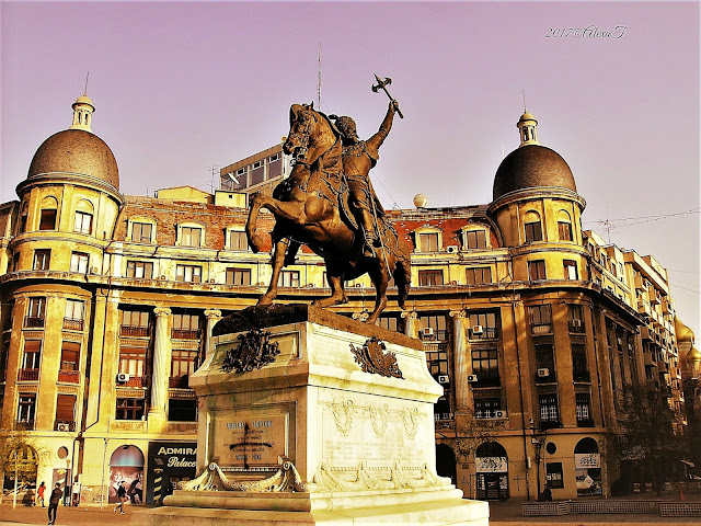 Equestrian statue of Prince Michael the Brave/ Voievodul Mihai Viteazul, University Square, Bucharest, Romania; (1876, sculptor Albert-Ernest Carrier-Belleuse)
