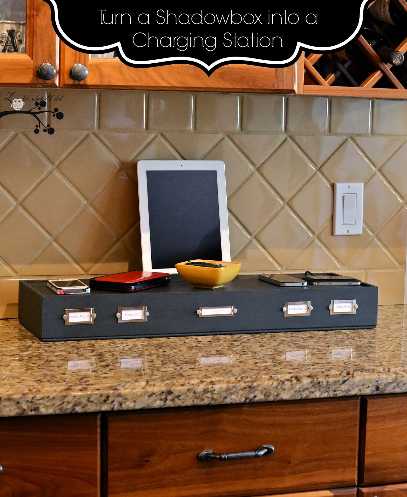lookie what i did turn a shadowbox into a charging station. Black Bedroom Furniture Sets. Home Design Ideas