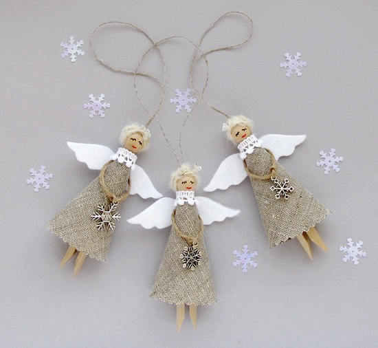 Burlap Christmas Angels, декор для елки