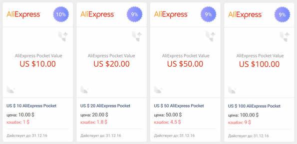 Повышенный кэшбэк на подарочные сертификаты AliExpress
