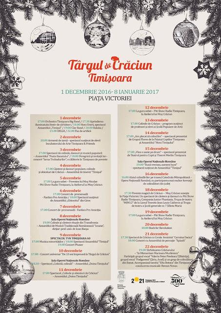 Programul Targului de Craciun la Timisoara (01 dec - 08 ian 2017)