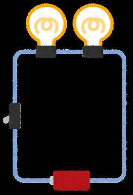 直列回路のイラスト(電球)