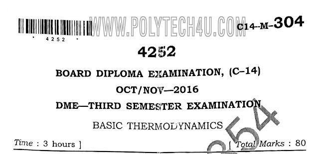 dme c-14 mechanical 304-basic thermodynamics previous question paper