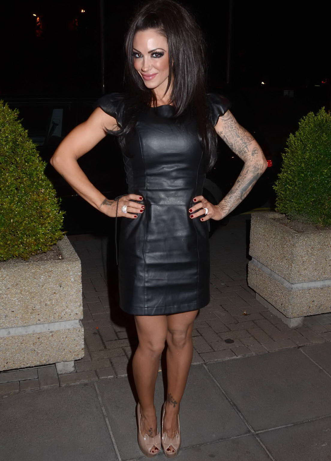 News Feed Jodie Marsh In Black Leather Dress