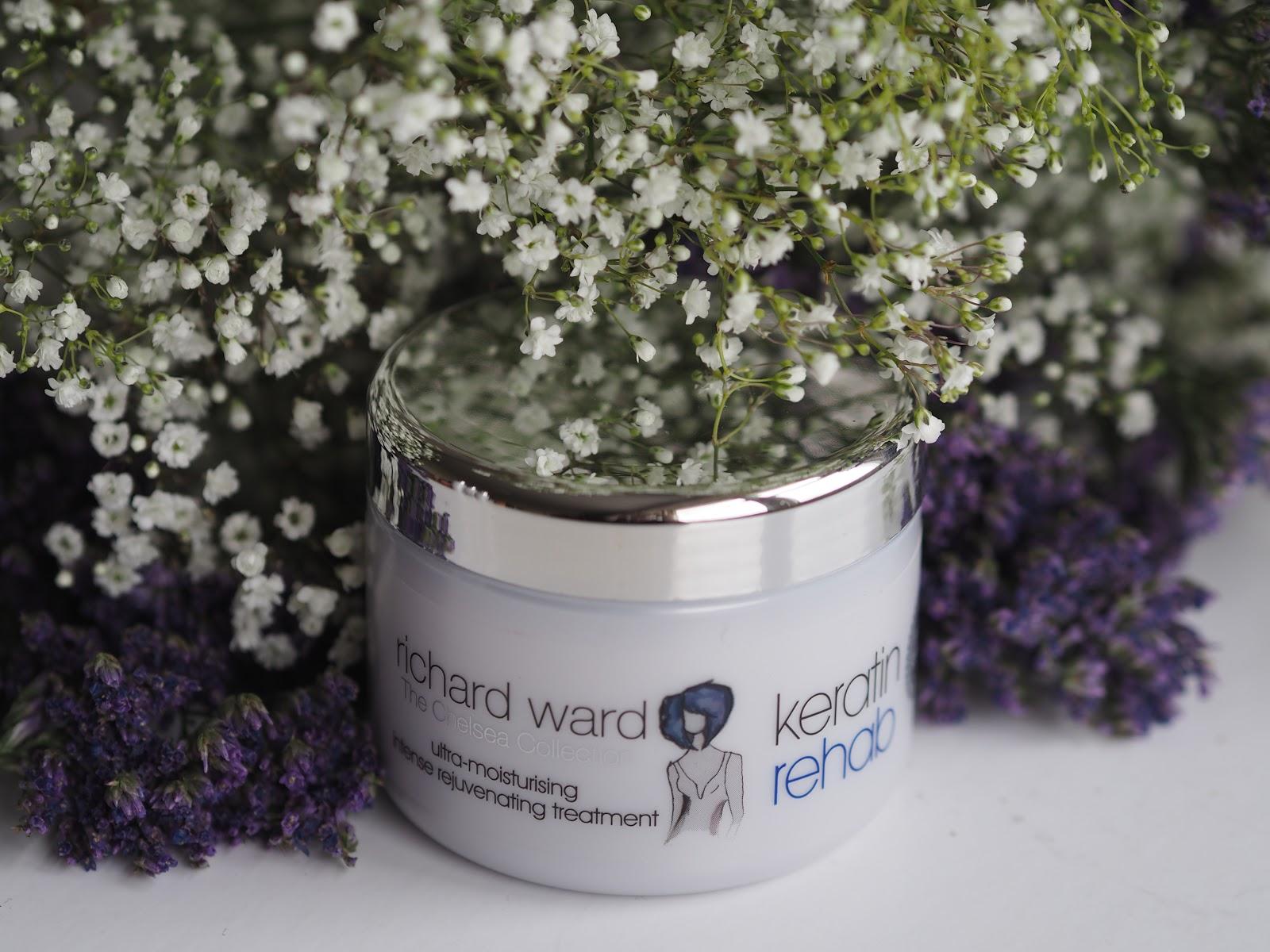 Richard Ward Keratin Rehab hair mask with flowers around it