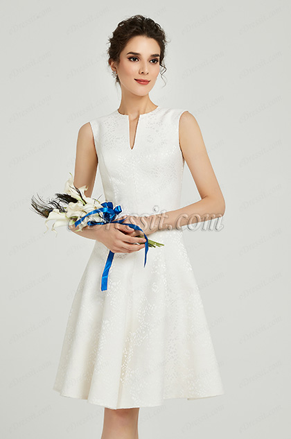 White Short Knee Length Cocktail Party Dress