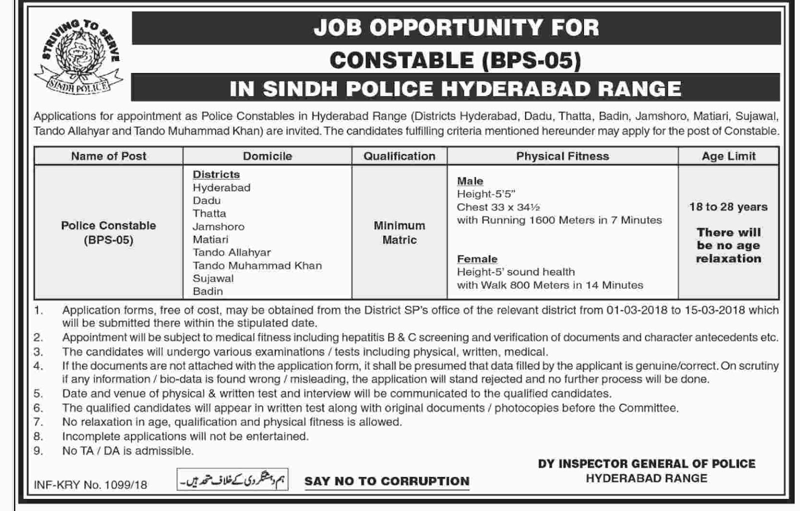 Jobs In Sindh Police 2018 for 500 Police Constable