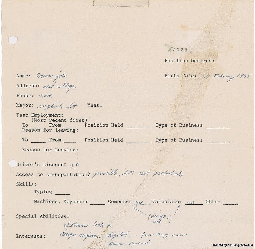 Resume Steve Jobs Tahun 1973 Terjual RM684,000!