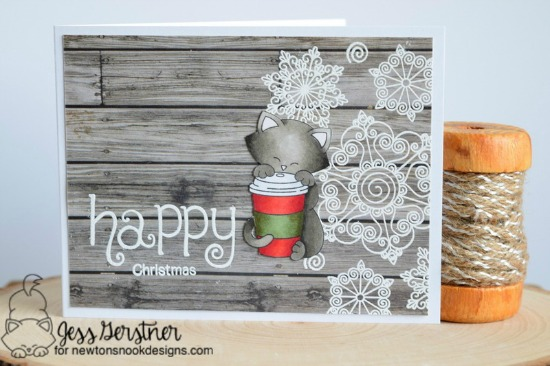 Happy Christmas Card by Jess Gerstner | Newton Loves Coffee, Beautiful Blizzard and Simply Seasonal Stamp sets by Newton's Nook Designs #newtonsnook