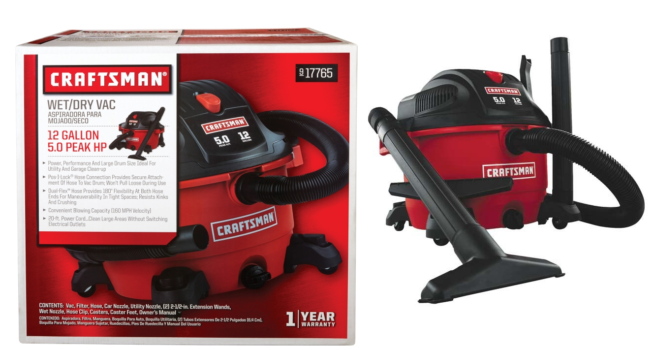 Craftsman 12-Gallon 5 HP Wet/Dry Vacuum $39.99 (Reg $69.99