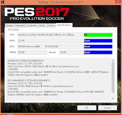 PES 2017 Settings.exe Only For Check Specifications