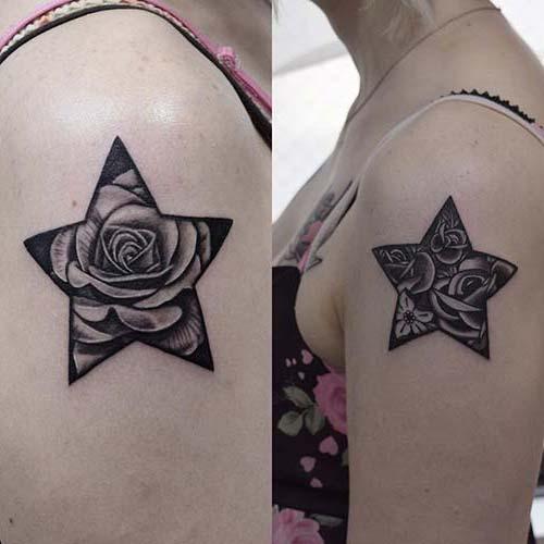 yıldızlı gül kadın omuz dövmeleri rose star woman shoulder tattoos