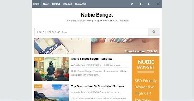Nubie Banget - Template Blog Simple Sederhana Gratis