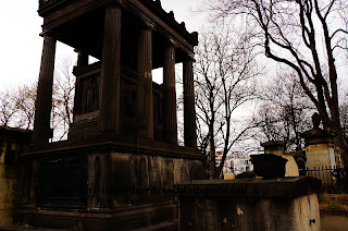 Sarcophagus housed in Greek temple structure, Pere Lachaise Cemetery