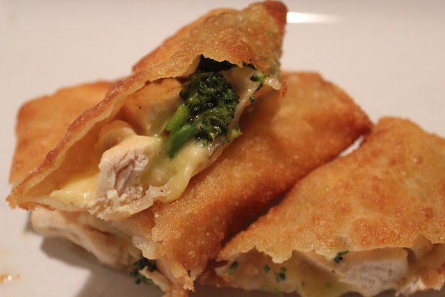 Chicken, broccoli, and cheese egg rolls