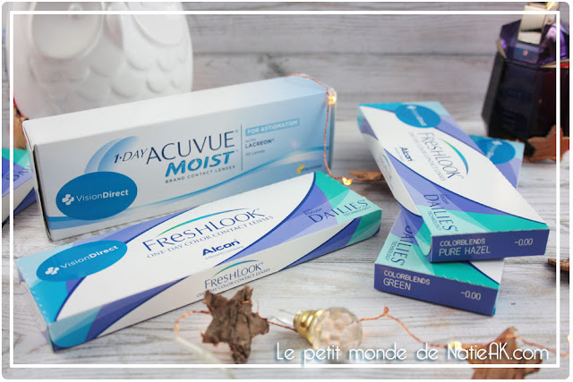 Lentilles de contact de Vision Direct :  FreshLook et Acuvue One day