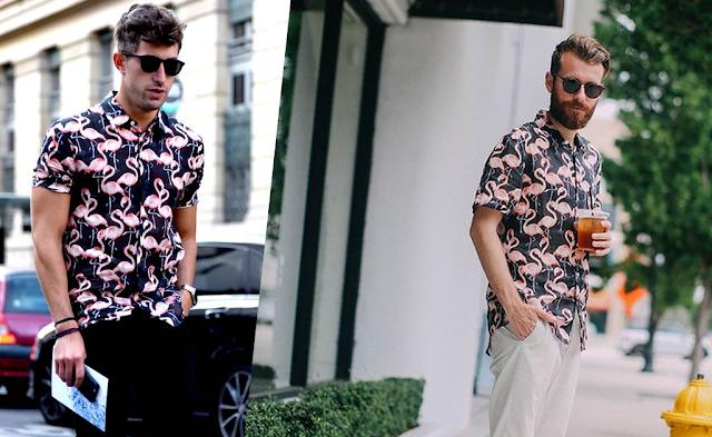 Look Masculino com Camisa Estampada flamingos