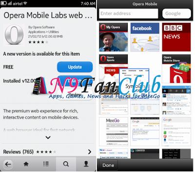 تحديث برنامج Opera Mobile 12.00.8 لـ n9