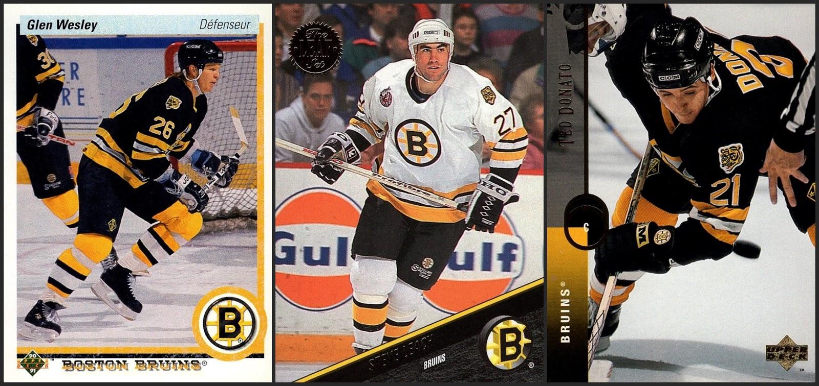 54b6b8a5459 Boston Bruins- three cards. 1990-91 Upper Deck French #377 1993-94 Leaf #3  1994-95 Upper Deck #61