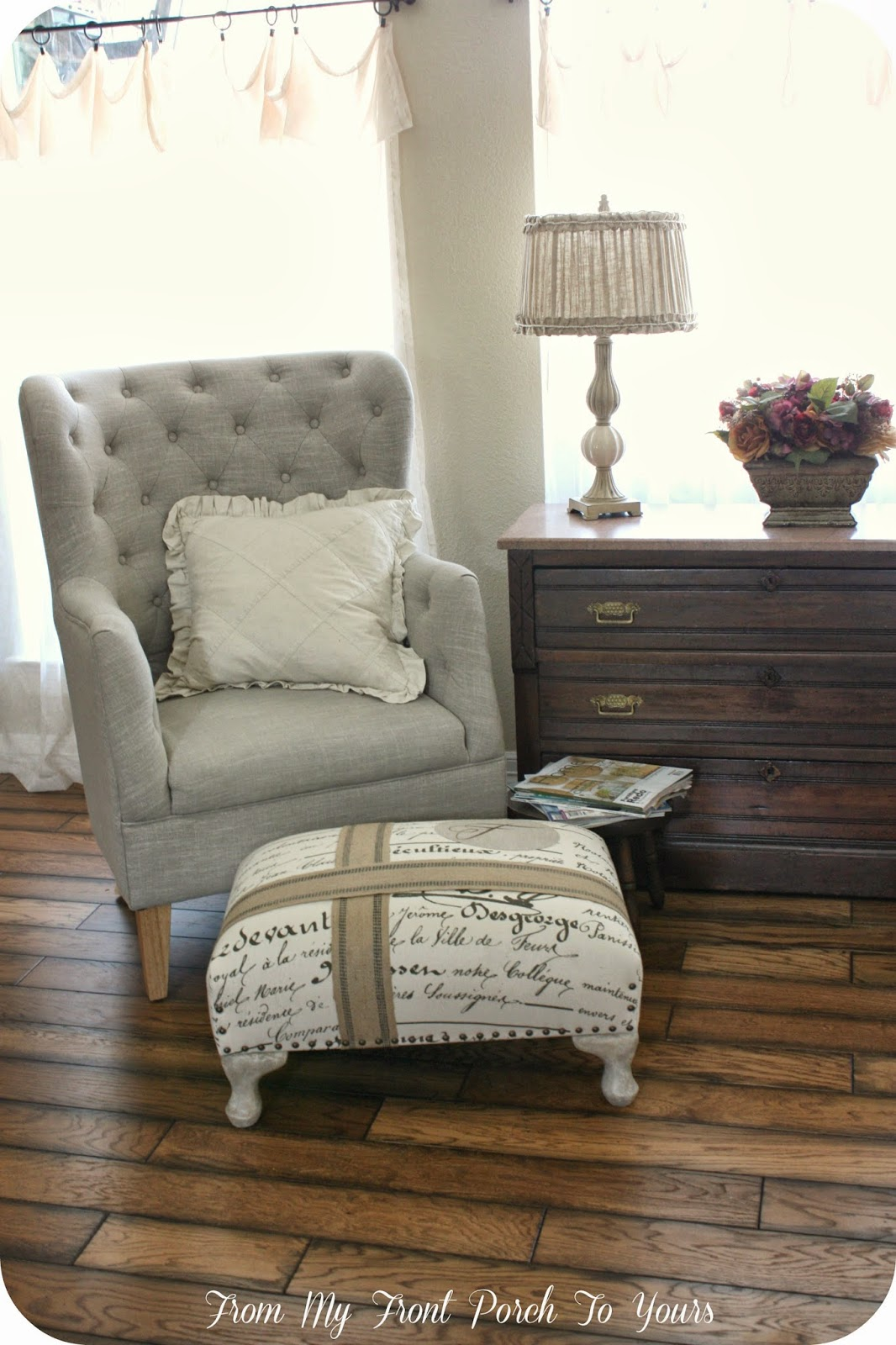 Farmhouse Living Room Chairs Small Design With Corner Fireplace From My Front Porch To Yours French Reveal Country