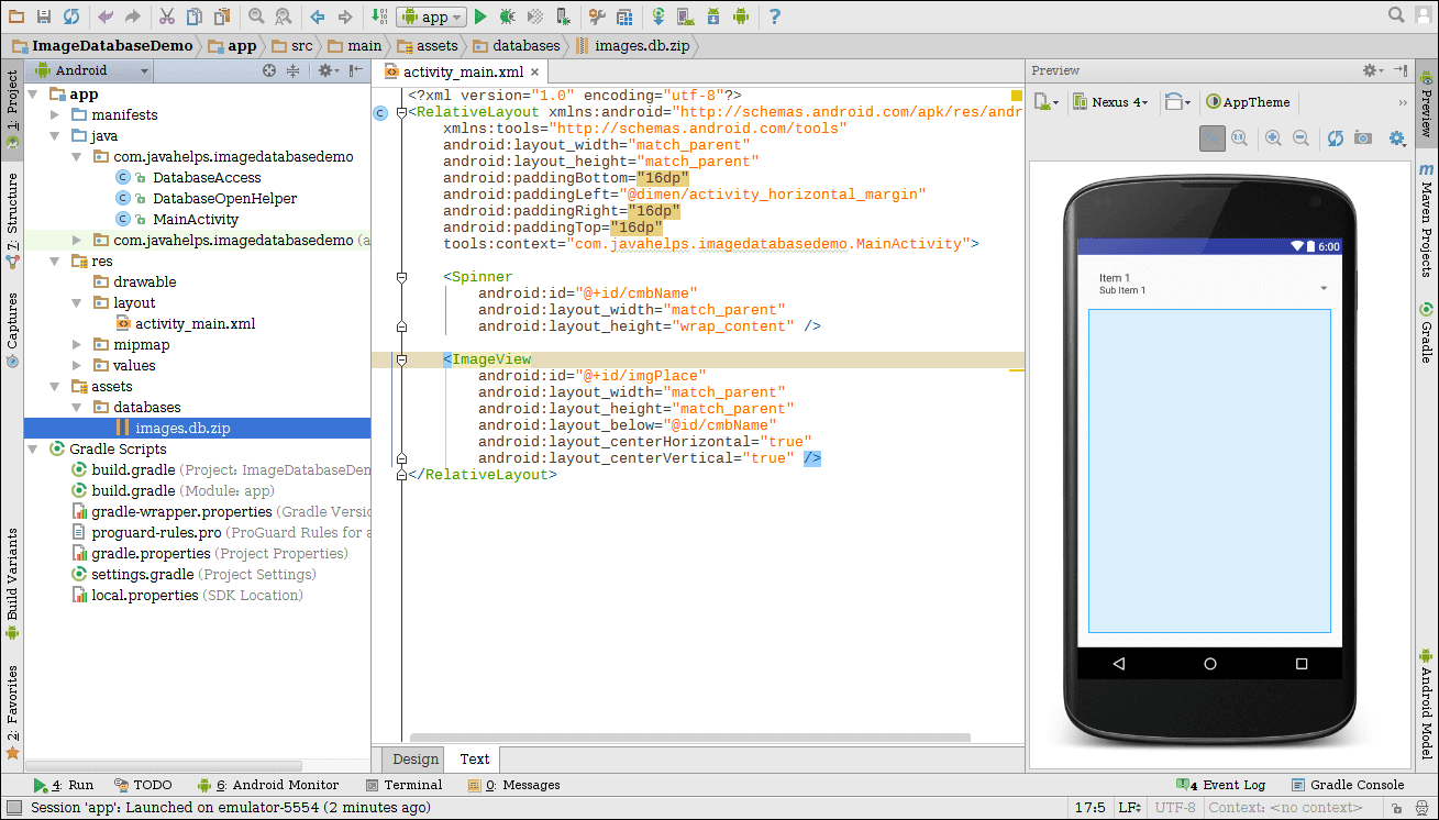 Import Database with Images in Android