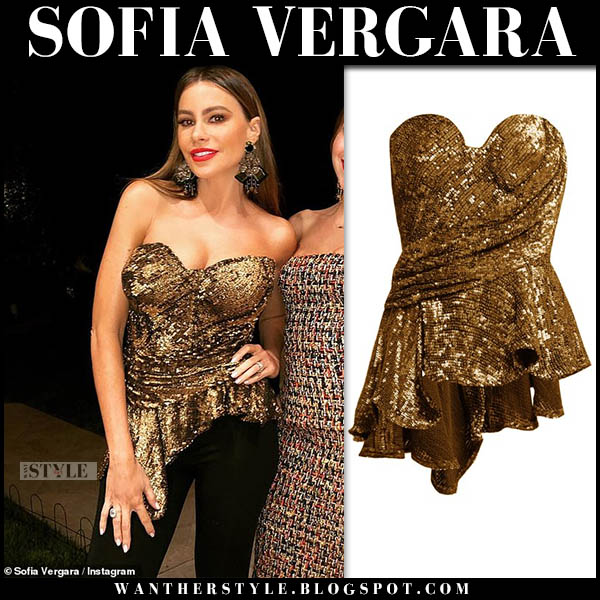 Sofia Vergara in gold sequin bustier top holiday party celebrity style november 22