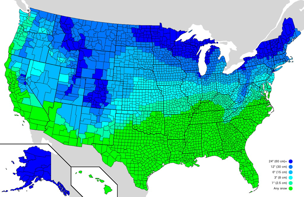 How much snow it typically takes to cancel school in the U.S.