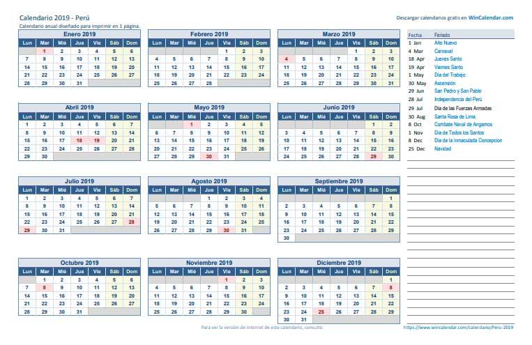 Calendario 2019 Horizontal de una página