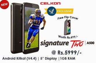 Celkon Signature Two A500 Dual SIM (Android 4.4.2 Kitkat, 1.3 GHz Dual-core processor, 1GB RAM, 8GB ROM) worth Rs.7500 for Rs.5999 with Free Flipcover worth Rs.499