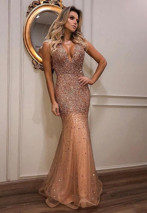 vestido de festa cobre