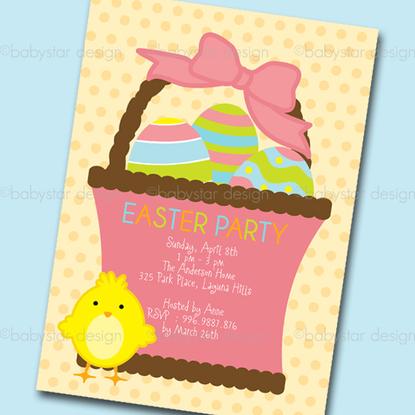 Babystar Design Digital Clipart and Template Store Easter Party - easter invitations template