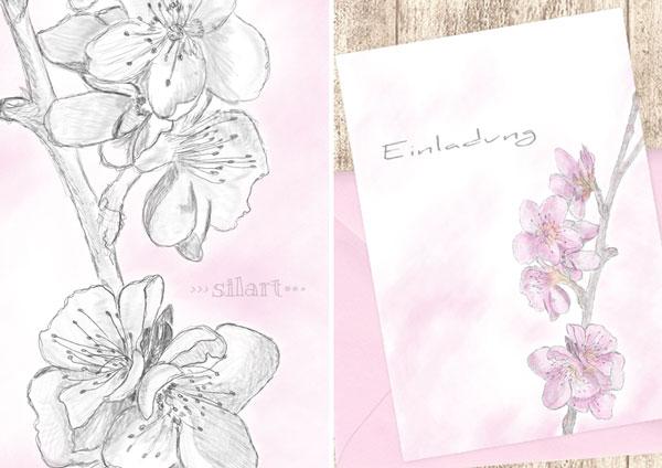 Einladung mit Kirschblüten