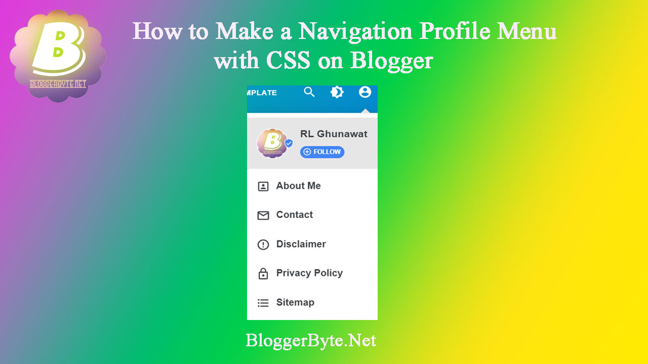 How to Make a Navigation Profile Menu with CSS on Blogger